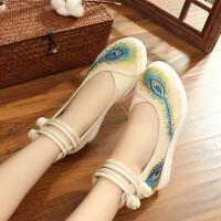 民族风绣花鞋女老北京布鞋单鞋高跟古风汉服鞋坡跟刺绣禅修舞蹈鞋