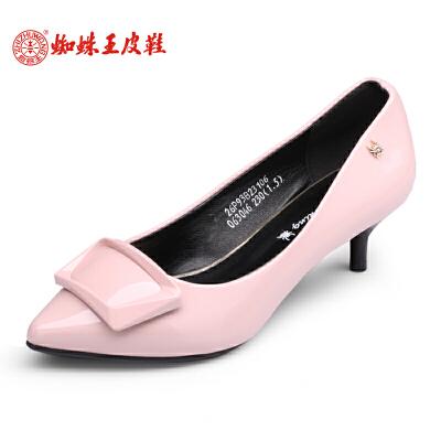 蜘蛛王女鞋单鞋中跟2017春季新款尖头细跟蝴蝶结正装鞋女士浅口鞋