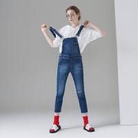 初语 2017春夏装新款蓝色磨白牛仔裤女牛仔背带裤毛边九分裤女裤