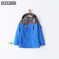 JEEP童装 男童冲锋衣三合一外套 摇粒绒内胆2018春季新款