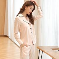 丝质睡衣女秋季长袖长裤家居服两件套装开衫翻领性感丝绸睡衣女冬