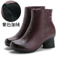 2019秋冬复古压花民族风妈妈靴中年短靴女单靴女式粗跟皮棉靴 紫色 二棉加绒