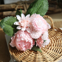 甜梦莱北欧仿真花牡丹花假花花束家居客厅餐桌装饰塑料花绢花插花摆件