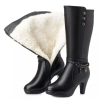 【断面断底包换】羊皮毛一体女靴中长靴女高跟羊毛中筒靴棉靴