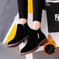 2018春秋季新款欧美女短靴马丁靴冬磨砂粗跟中跟休闲百搭学生女鞋