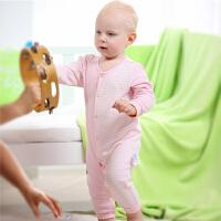 【加拿大童装】 Gagou Tagou婴幼儿纯棉色织长袖前开连体衣宝宝哈衣爬服睡衣