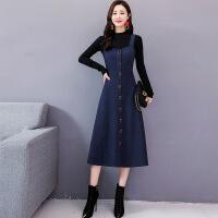 毛呢连衣裙女2018秋冬新款韩版气质中长款冬季加厚套装裙子两件套 藏青色(N9229)