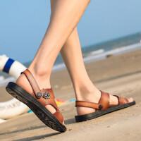 真皮男士凉鞋夏季两穿防滑平底套脚沙滩鞋镂空透气露趾休闲凉拖鞋软底中老年爸爸鞋