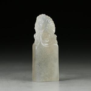 寿山坑头晶 精雕鳌龙出海印章 p2497