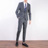 格子小西装男士套装修身韩版英伦风帅气西服新郎结婚礼服休闲外套 深灰色