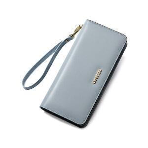 【支持礼品卡】DOODOO 真皮钱包女士长款2018新款韩版简约个性多功能百搭女皮夹子 D6901