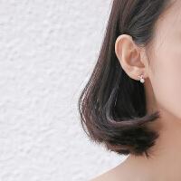 珍珠爱心耳钉女心形 气质个性短款小清新耳坠耳饰