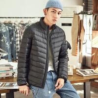 【2件3折价197.4元】唐狮轻薄羽绒服男短款2018年冬季新款青少年立领韩版修身保暖外套