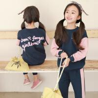 秋款韩版童套装中大童两件套男女童套装拼色印花儿童套装