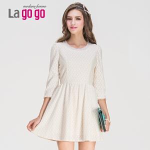 Lagogo/拉谷谷秋季新品钉珠蕾丝拼接修身连衣裙