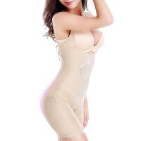 春夏无痕收腹连体塑身衣女士薄款束腰提臀美体 平角牡丹款肤色