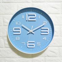挂墙表照片卧室家用相框挂墙大气墙钟壁挂圆形装饰餐厅静音欧式钟表电子可爱圆形家J 大数字 12英寸
