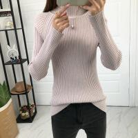 2018秋冬新款半高领紧身毛衣女针织衫加厚内搭打底长袖修身外套潮