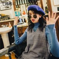 七格格针织衫女秋装新款韩版修身毛衣纯色上袖打底衫套头上衣