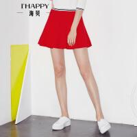 海贝2017年秋季新款女装半身裙 百搭纯色高腰修身显瘦A字百褶短裙