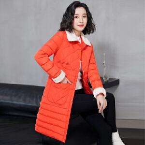 纤纯伊轻薄棉衣女2018新款韩版修身棉服羊羔毛中长款外套