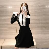 有女人味的名媛小香�L�B衣裙�L袖打底裙chic早秋裙收腰赫本小黑裙 黑色