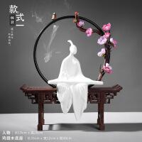 中式禅意家居玄关软装饰品摆件 办公室客厅电视柜陶瓷工艺品摆设