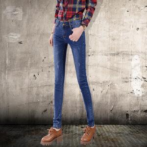 Modern idea新款紧身裤中腰牛仔裤女式修身显瘦牛仔长裤子