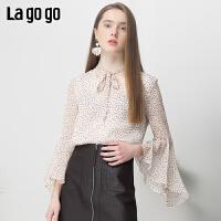 Lagogo2019夏季新款衬衫清新V领喇叭袖碎花雪纺上衣女IASS403A18