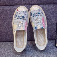 帆布鞋女春夏透气休闲鞋女一脚蹬懒人单鞋平底老北京布鞋豆豆鞋女