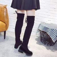 2019秋冬新款欧美过膝靴女弹力高筒靴显瘦中跟长靴骑士靴女靴子潮