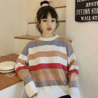 彩虹条纹毛衣女秋冬季韩版学生宽松内穿慵懒风套头针织衫 图片色 均码