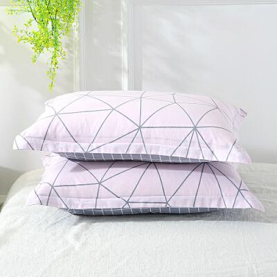 当当优品对装枕罩 纯棉200T加密斜纹枕罩48x74cm 幸福魔方(粉)当当自营
