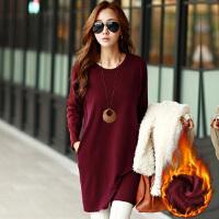 秋冬韩版修身白色中长款加厚加绒中长款长袖女t恤保暖打底衫体恤