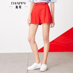 海贝夏季新款女装 百搭可爱蝴蝶结高腰纯色直筒短裤休闲裤