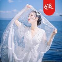 白色女神蕾丝刺绣性感网纱透视连衣裙波西米亚海边度假沙滩长裙仙GH04 白色