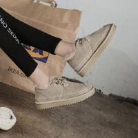 港风潮鞋超火明星同款2019新款手工卡其雪地靴女 日系冬保暖马丁短靴子 加绒女棉鞋