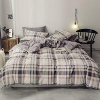 日式水洗全棉四件套床上用品纯棉被套被子床单三件套床笠
