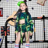 六一儿童演出服新款亮片爵士舞嘻哈街舞台套装女少儿舞蹈表演服装 绿色 仅外套T1002