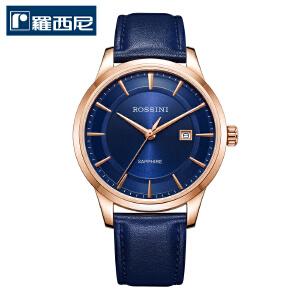 罗西尼情侣表石英表男士手表真皮女表正品休闲防水手表