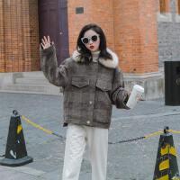 格子呢子大衣女短款2018秋冬新款流行韩版宽松妮子小个子呢子外套 图片色