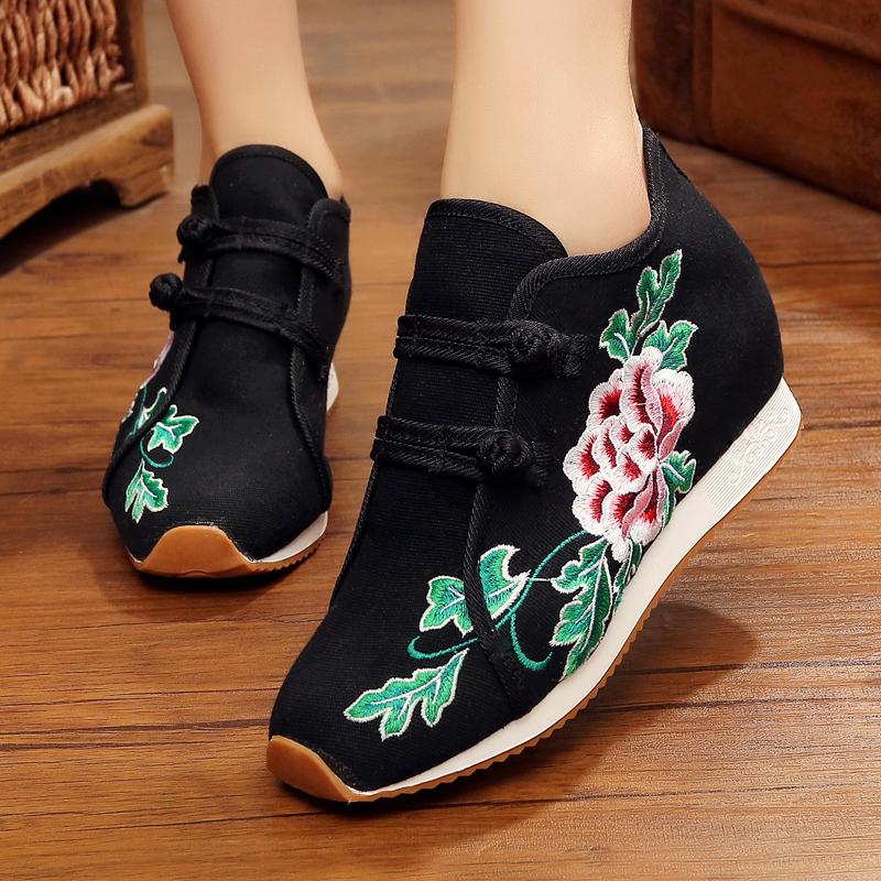 新品民族风绣花鞋古风汉服鞋高跟内增高舞蹈鞋旅游女单鞋广场舞鞋 招展黑色 单鞋