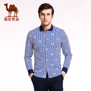 骆驼&熊猫联名系列男装时尚尖领青春流行修身条纹长袖衬衫男衬衣