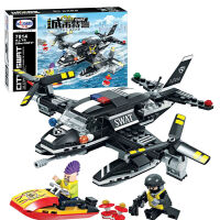 卫乐  城市特警 积木拼插益智玩具 拼装模型 水上飞机7014