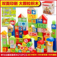 木丸子 100粒数字字母木制积木早教益智   儿童玩具