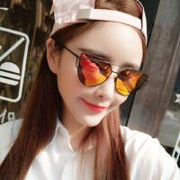 蝶形 方形女个性太阳镜反光超平镜面潮彩膜墨镜眼镜