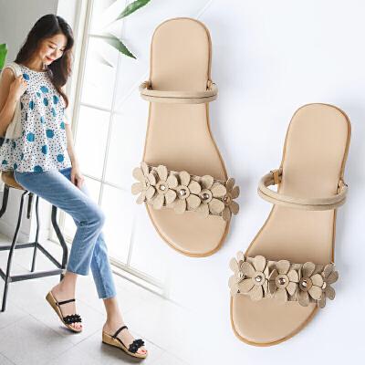 网红女鞋 夏季平底橡胶底一鞋两穿仙女花朵休闲凉鞋女2019流行鞋