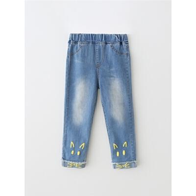女童牛仔裤秋季松紧腰休闲裤 宝宝长裤裤子