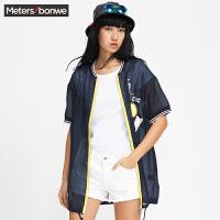 美特斯邦威衬衫女韩范休闲夏外套式衬衫225643