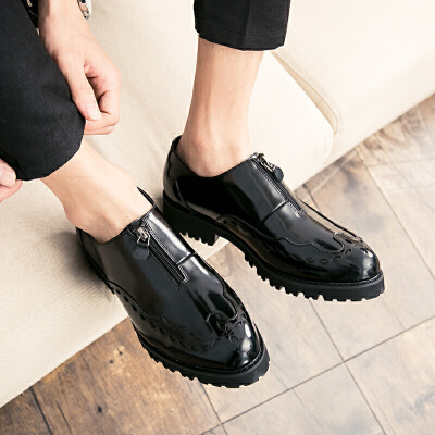 男生夜店潮鞋韩版男休闲皮鞋潮流青年英伦美发师鞋子精神小伙拉链款男鞋子